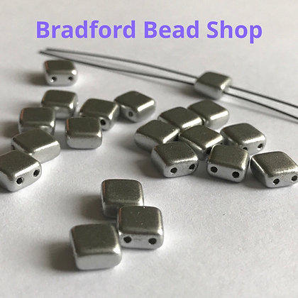 2-hole Glass Tile Bead - Silver Opaque Satin- 6x6mm