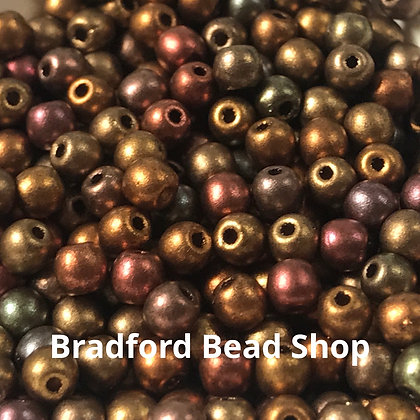 Glass Round Beads - Bronze Multi Opaque - 3mm