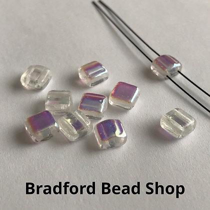 2-hole Glass 'Silky' Hump Bead - Crystal Translucent/Rainbow Coat - 6mm