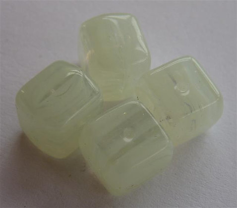 Glass Bead - Cubed Marble Cream/Clear/Grey