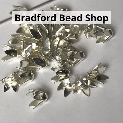 Bead End Cup (Flower) - 6mm - Silver Plated