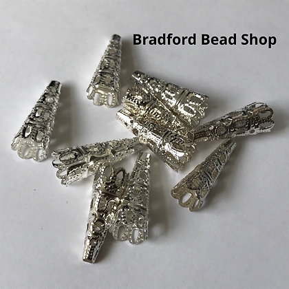 Bead Caps - Cone - 9mm x 22mm - Silver Plated