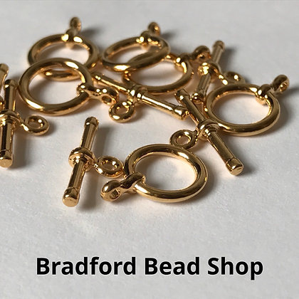 T-Bar Clasps - 13mm x 15mm - Gold Plated