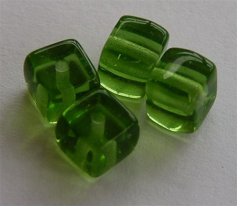 Glass Bead - Cubed Green Translucent