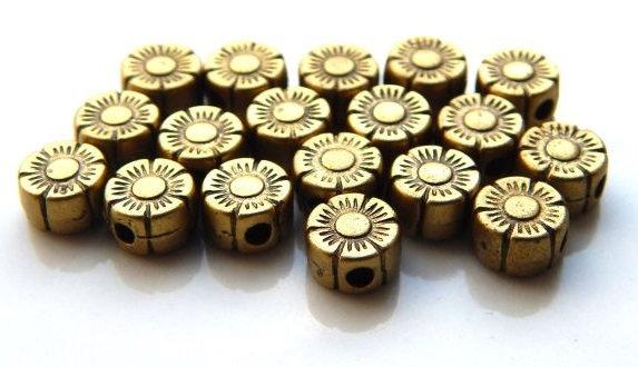 Beads - Flower - 6x4mm - Antique Bronze Colour