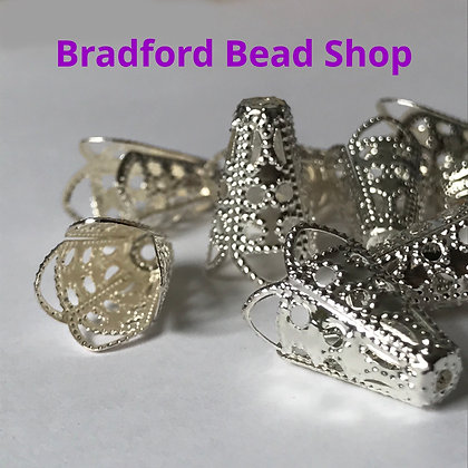 Bead Caps - Cone - 11mm x 16mm - Silver Plated