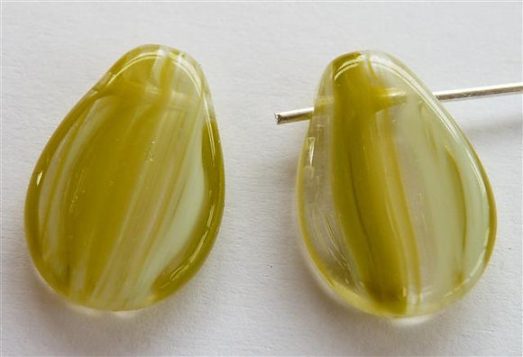 Glass Droplet Beads - Khaki Green/White/Clear Marb
