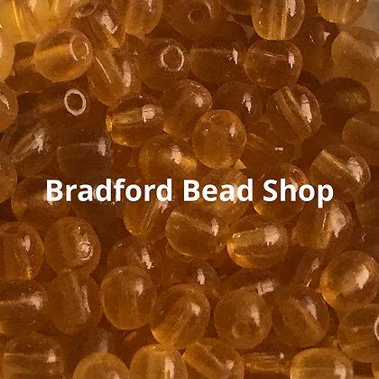Glass Round Beads - Orange Translucent - 4mm
