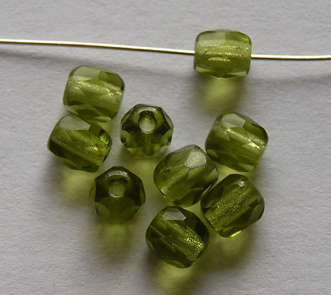 Glass Faceted Round Beads - Absinthe Green