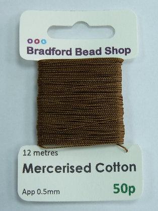 Mercerised Cotton Thread - App. 0.5mm x 12 metres -Beige