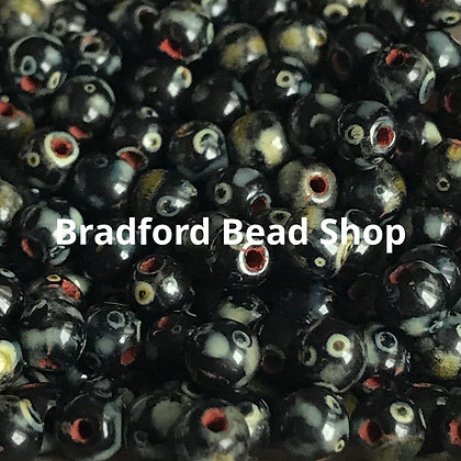 Glass Round Beads - Black/Red/White Mix Opaque - 4mm