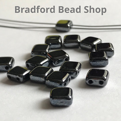2-hole Glass Tile Bead - Gun Metal Grey Opaque - 6x6mm