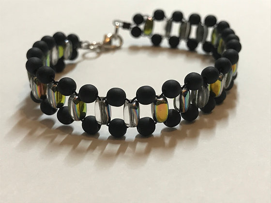Four By Four Bracelet Kit -Black Frosted & Rainbow AB Beads
