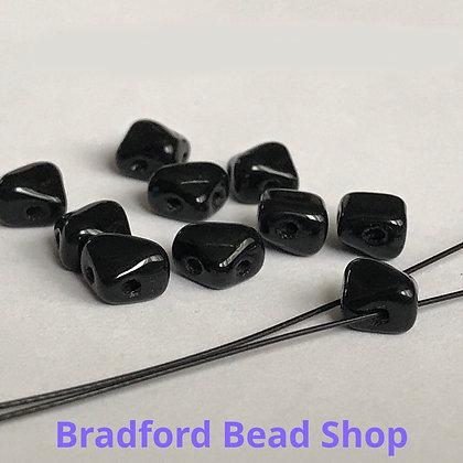 Glass 2 Hole Diamond Beads - Black Opaque - 5mm