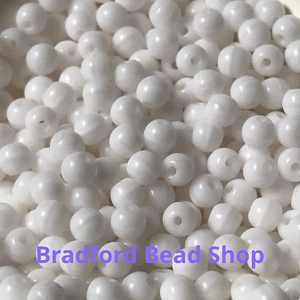 Glass Round Beads - White Opaque - 3mm