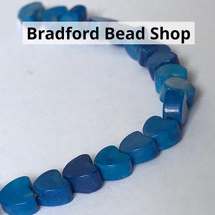Howlite Lapis Heart Beads - 4mm