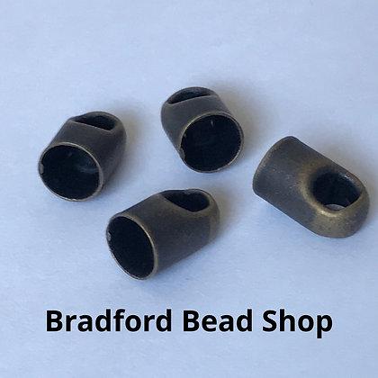 Round End Caps - 5mm x 8mm - Antique Brass Colour