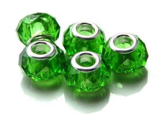 Crystal Bead - with Brass Core - Fern Green -14mm x 9mm  - 1 per pack