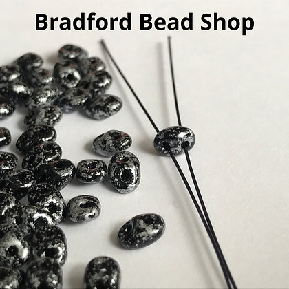 Matubo Glass Superduo Beads - Silver Tweed Marble Opaque - 2.5mm x 5mm