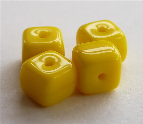 Glass Bead - Cubed Canary Yellow - Opaque
