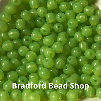 Glass Round Beads - Neon Green Translucent - 3mm