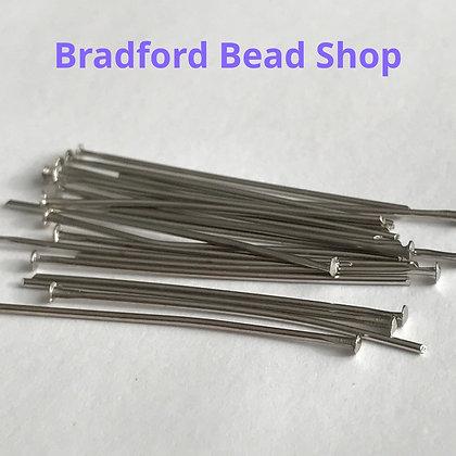 Head Pins - Rhodium Colour - 30mm x 0.6mm