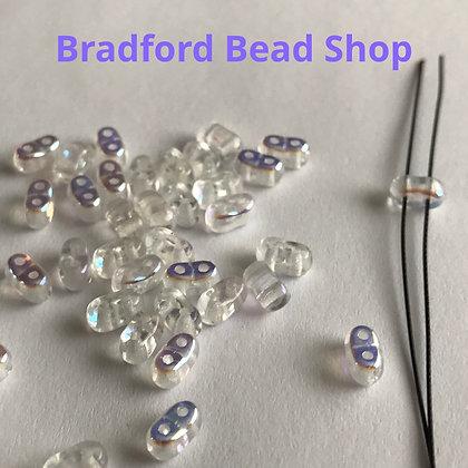 2 Hole Glass 'Oval Brick' Beads - Crystal/Rainbow Coat Translucent - 3mm x 5.5mm