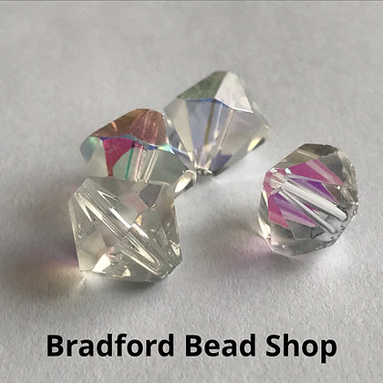 Machine Cut Bicone Beads - Crystal AB Translucent - 10mm