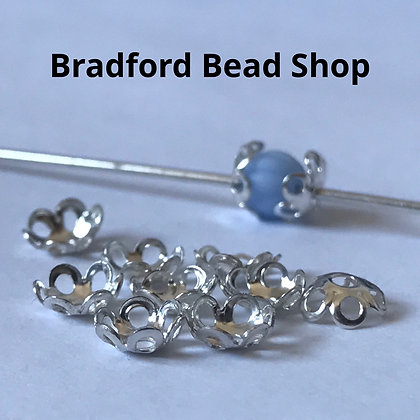 Bead End Cup (Plain with holes) - Silver Plated - 5mm (1mm top hole)