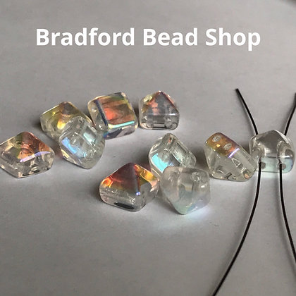 2-hole Glass Pyramid Beads - Crytal Translucent with Rainbow Half Coat - 8mm