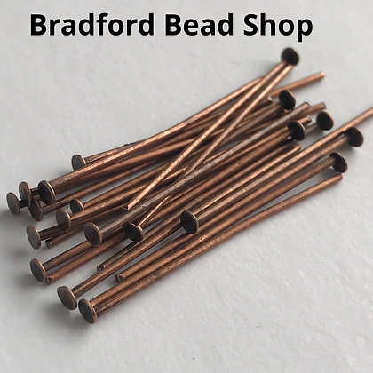 Head Pins - Antique Copper Plated - 30mm x 0.7mm