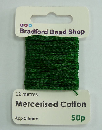 Mercerised Cotton Thread - App. 0.5mm x 12 metres -Tree Green