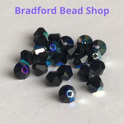 Machine Cut Bicone Beads - Black Opaque AB - 4mm