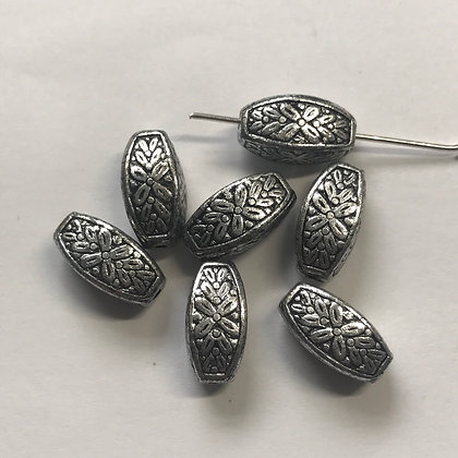 Acrylic Embosses Bead - 13mm x 7mm - Antique Silver Colour