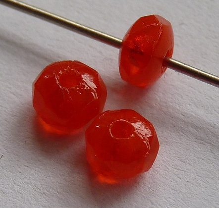 Glass Faceted Doughnut Beads - Orange Translucent
