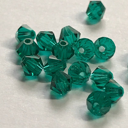 Machine Cut Bicone Beads - Emerald Green - 3mm