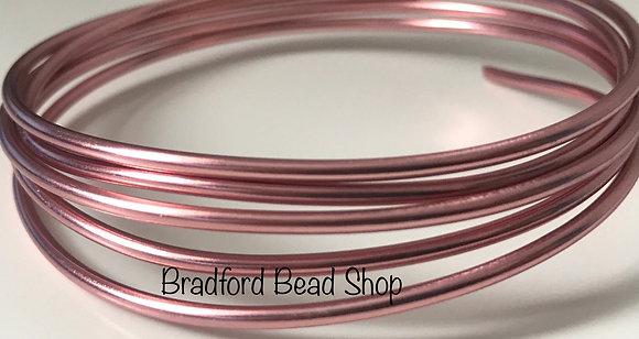 Alimunium Wire - 2mm thick - x 1 Metre length - Rose Colour