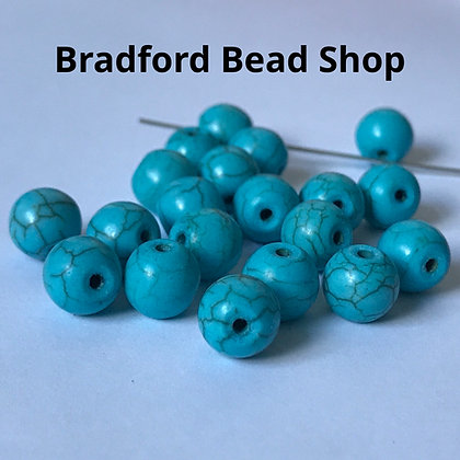 Turquoise Howlite Round Beads - 8.5mm