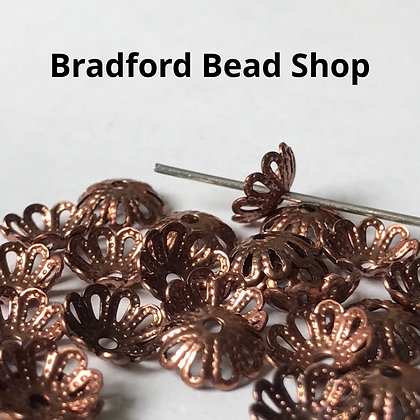 Bead End Cup (Light Pattern) - 7mm - Copper Plated