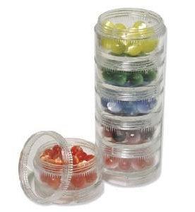 Round Stackable Bead Jars x 6