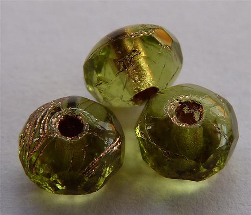 Glass Faceted Doughnut Beads  Light Green with Brz