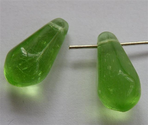Glass Droplet Beads - Light Lime Green Translucent