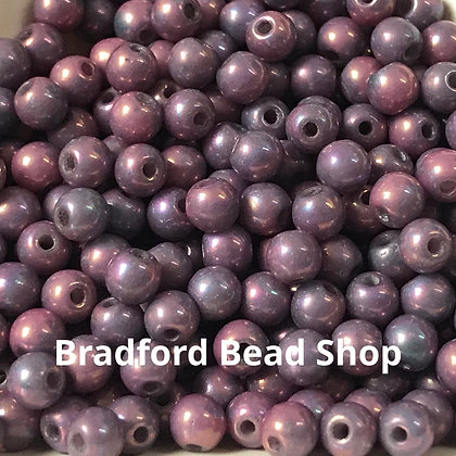 Glass Round Beads - Purple Opaque Lustre - 3mm