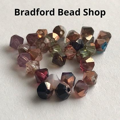 Machine Cut Bicone Beads - Bronze Mix - 4mm