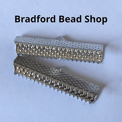 Ribbon End Crimp - Rectangle - 30x8x5mm - Silver Plated