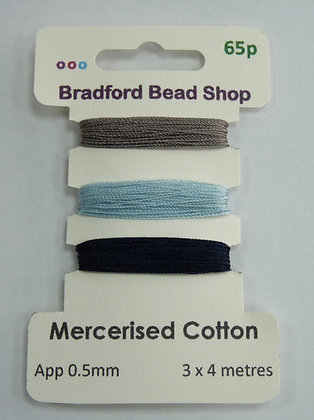 Mercerised Cotton Thread - Multi Pack - App. 0.5mm - Grey, Lgt Blue, Dk Blue