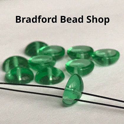 Glass Piggy Beads - Green Translucent - 8mm