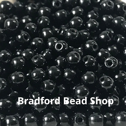 Glass Round Beads - Black Opaque - 3mm