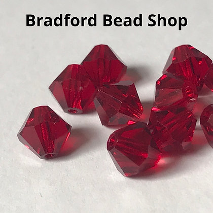Preciosa Crystal Rondell Beads - Red Translucent - 6mm