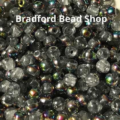 Glass Round Beads - Crystal with Half AB - 3mm